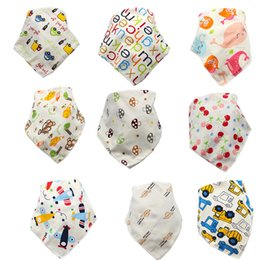 bandana tierdruck Rabatt Cartoon Infant Triangle Bandana Lätzchen Neugeborenen Spucktücher 2019 Babys Jungen Double Layer Baumwolle Kleinkind Animal Print Lätzchen C4395