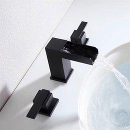 2019 moderne waschbecken Moderner Wasserfall verbreitet rechtwinklige Badezimmer Waschbecken Waschbecken Wasserhahn in Mattschwarz günstig moderne waschbecken