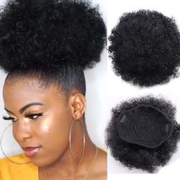 2020 cabelo humano de sopro afro 8inch Curto Afro Puff Cabelo Humano Bun Chignon peruca para mulheres com cordão de-cavalo Kinky Curly Updo Clipe extensões do cabelo cabelo humano de sopro afro barato
