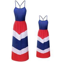 Kid usa flagge online-Mutter Kinder Flag Print Kleid ärmellose Sling Kleid amerikanische Flagge Unabhängigkeit Nationalfeiertag USA 4. Juli Streifen Familie passenden Outfit S-3XL