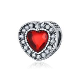 Deutschland Herzform Perlen Kristall Süße Rote Liebe Herz Perlen Großes Loch Spacer Lose Perlen Charms für DIY Machen Halskette Armband cheap crystal red heart charms Versorgung