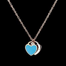 Colliers coeur amour pour toujours en Ligne-Nouvelle arrivée amour double coeur émail ladie FOREVER LOVE collier en acier inoxydable à la dérive bijoux bijoux en gros cadeau pour les femmes