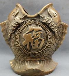 vaso ricchezza Sconti NUOVO + Bronzo cinese Ricchezza rame moneta Fu 2 pesci tatue pennello vaso matita vaso
