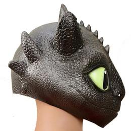 mascara de entrenamiento para Rebajas 2Estilo Cómo entrenar a tu dragón 3 Máscara de cabeza 2019 Nuevos niños adultos Fiesta de Halloween cosplay Toothless Sombrero de látex natural Máscaras Juguetes C2