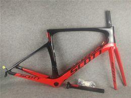 T1000 ud parlak kırmızı siyah yol bisikleti Frameset Scott folyo karbon yol çerçeveleri ile PF30 47/49/52/54 cm ücretsiz kargo nereden