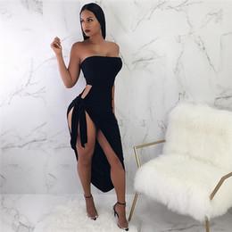 vestido de corpo branco preto e preto Desconto Novas mulheres irregulares cintas lado fenda vestido sem mangas Sexy cor sólida magro envolto no peito vestido de festa