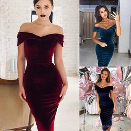 vestido negro victoriano corto Rebajas Vestido largo de 3 colores S-XL Prom Party Bardot terciopelo de las mujeres atractivas de la tarde ajustado de cóctel formal 58282808216668