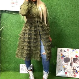 casaco de ruffle tamanho maior Desconto Plus size Mulheres Jaqueta de Manga Longa Casaco Vestido Casuais Rendas Hem Ruffle Patchwork Longo Outerwear Feminino Maxi Outerwear Punk