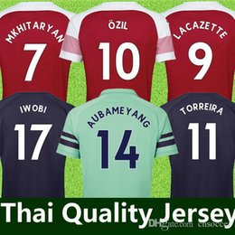 2019 uniformes de futebol de manga curta Tailandia Arsenal soccer jersey #10 OZIL casa camisa de futebol vermelho 18/19 MKHIARYAN camisa de futebol de manga curta 2018/2019 # 14 AUBAMEYANG uniformes de Futebol por atacado desconto uniformes de futebol de manga curta