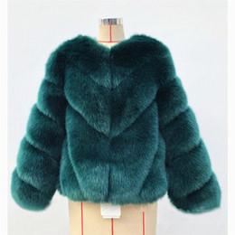 Suave capa de piel de zorro verde Chaqueta corta de piel delgada de invierno con manga larga S-3XL Grueso Faux Coat Color gris púrpura desde fabricantes