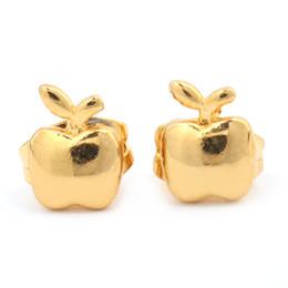 2019 aretes 24k Apple Stud Pendientes de alta calidad baratos lindos simples 24K color oro pendientes vendedores calientes aretes 24k baratos