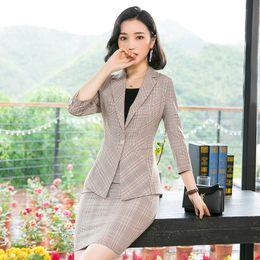 96d3677defb4 Summer New Style Beige Plaid Blazer Womens Suit with Skirt Elegant Business  Ladies Office Uniform Blazer And Skirt Set