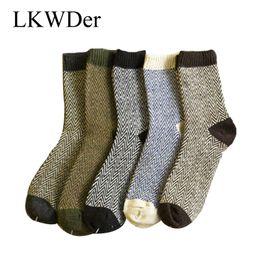 02fabdada LKWDer 5pairs Mens Warm Winter Thick Angora Cashmere Casual Dress Wool  Mixture Socks Men Wave Style The Extended Wool Socks Crew