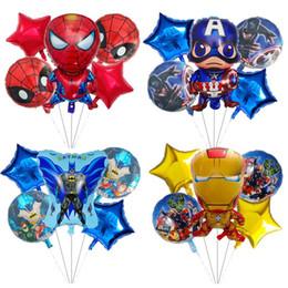 Suministros para la fiesta de los vengadores online-5pcs súper héroe Spiderman Batman Vengadores Latina fiesta de cumpleaños globos de la hoja Material Día juguetes de Superman globo del aire niños