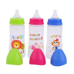 300ML Baby Cartoon Latte Bocca larga Bottiglia di succo Bottiglia di latte per neonati Integratore alimentare in silicone Pasta di riso da