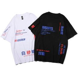 maglietta di hip hop cinese Sconti 2019 Uomini Harajuku T Shirt Caratteri cinesi Stampa Hip Hop Tshirt Streetwear Estate Cotone T-Shirt Manica corta Top Tees Nero
