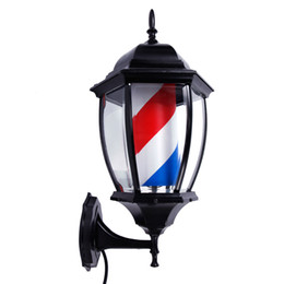 LED Rotante Barber Palo Light 20inch Barber Palo Glowing Globe Light Rosso Blu Bianco Light Spinning Stripes Segno Rotating Man Cave Sign da