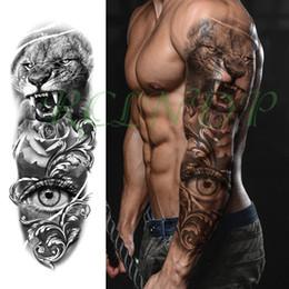 2019 черная флеш-бумага Водонепроницаемый Временные Татуировки Наклейки лев острые зубы розовые цветы большой глаз полный рука большой поддельные татуировки флэш татуировки для мужчин, женщин