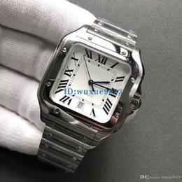 Mira palabras online-2019 HOTautomatic calendario reloj de lujo fecha de alta calidad correa de acero inoxidable palabra romana reloj de pulsera cuadrado moda deportes nuevos relojes para hombre