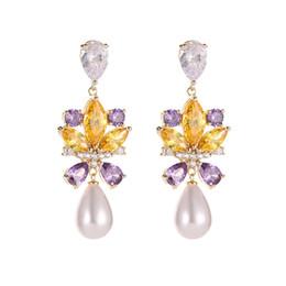 Fée diamant cristal en Ligne-Boucles d'oreilles aiguille d'argent de la mode coréenne S925 femelle super fée couleur cristal diamant boucles d'oreilles perles de féminité longues