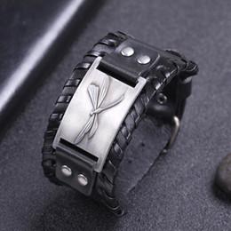 Fascini della libellula di rame online-Amuleto in argento a forma di libellula nero largo in pelle Amuleto in argento antico / bronzo / rame