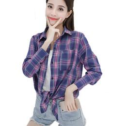 Camicie viola scozzese online-VogorSean Plaid in cotone Camicetta donna 2019 Autunno Estate Fashion Plus size Camicie donna Plaid Top Rosa / Viola / Bianco