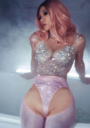 Trajes de dança para cantores on-line-Brilhando Strass Trajes Mangas Compridas Sexy Jumpsuit Mulheres Partido Macacão Spandex Outfit Evening Cantora de Dança do Sexo Feminino Bodysuit