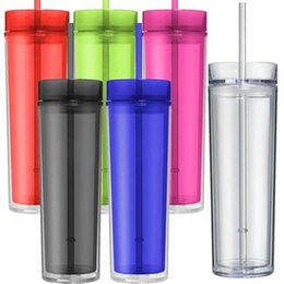 Preço de palha de plástico on-line-Preço de fábrica 16 oz Tumbler Acrílico Skinny com Tampa e Palha 480 ml Dupla Parede Limpar Copo De Plástico BPA garrafa de água em linha reta caneca de viagem