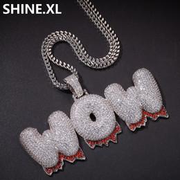 Pietre del ghiaccio online-Hip Hop nome personalizzato Bubble Letter oro argento placcato colore nuovo stile ghiacciato Micro pavimentato CZ collana di pietra per le donne degli uomini