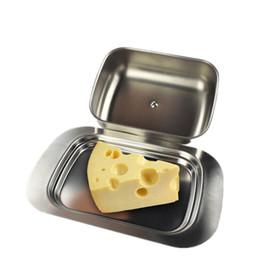 contenedores de queso Rebajas 1 unid Contenedor de la Caja de Mantequilla de Acero Inoxidable Servidor Bandeja de Custodios de Almacenamiento Con Tapa Mantener Ensalada de Fruta Queso Plato Q190604
