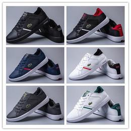 Homens sapatos france on-line-Novos lLACOSTEs homens sports running shoes França crocodilo bordado moda Sneakers Branco preto azul walking shoe Formadores Zapatos 36-45