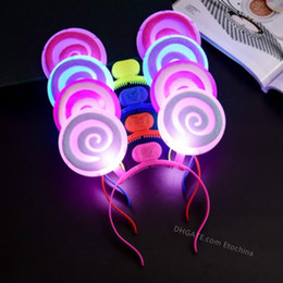 Vestidos de lollipop online-Colorido LED Lollipop Diadema Cosplay Flash LED Hair Bow Light Up Prom Dress Up Rave Toy para Halloween ENVÍO GRATIS