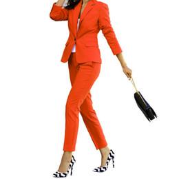 2020 traje pantalón rojo mujer Red 2 piezas Conjunto de las mujeres trajes de negocios ajuste delgado damas uniforme oficina elegantes trajes pantalón pantalón femenino de la chaqueta + pantalones rebajas traje pantalón rojo mujer