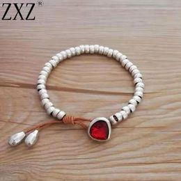 Koreanische antiquitäten online-ZXZ Mode Antik Silber Nette Romantische Kristall Herz Koreanische Paar Strang Perlen Armband Handgemachte Freundschaft Schmuck