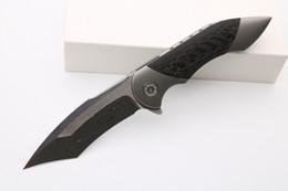 High-end Fare Fischer Battaglia personalizzato Flipper coltello pieghevole Damasco Blade Carbon Manico Fibra tattica delle lame di sopravvivenza all'aperto coltello da tasca da