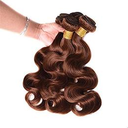 hellbraun weben schließung Rabatt 8A Brazilian Remy Unprocessed Human Hair Bundles 3 Bundles mit Verschluss Light Brown # 4 Körperwelle Echthaarverlängerungswebart