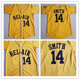camisa nova homens Desconto Will Smith # 14 Academia Bel-Air College Camisolas De Beisebol Homens Costurados O Novo Príncipe De Bel-Air Filme Camisas Camisas Amarelo