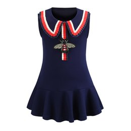 new european dress designs Coupons - Multi Choice New Arrival Summer Girls Elegant sleeveless Bee Embroidery Design high quality cotton baby kids big plaid dress