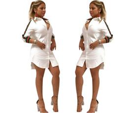 Blusas de moda para mujer online-Sexy camisa para mujer falda de la cinta camisas de manga larga vestido 3 colores de moda de señora causales blusas largas envío gratis