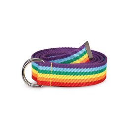 rainbow women belt Promo Codes - Women's Double Ring D - Type Buckle Rainbow Strip Webbing Casual Wild Super Long Decorative Canvas Belt 6-color Color Strip Belt