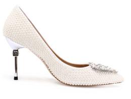 Zapatos formales blancos de las mujeres online-Nueva moda de lujo bombas de la boda Tacones altos Sexy White Beauty Prom dedo del pie puntiagudo vestido de fiesta por la noche mujeres adultas señora nupcial zapatos formales