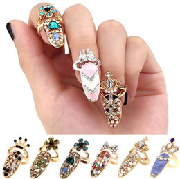 Dedo armadura anéis mulheres on-line-Anéis de Coroa De Cristal Dedo Anéis Conjuntos de jóias de presente de Moda strass Diamantes coroa armadura Unhas Anel Banda Mulheres Acessórios Venda Quente