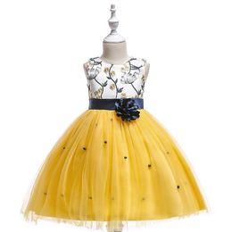 Argentina Dulce bebé amarillo rojo azul joya rodilla Chica Vestidos Vestidos Vestidos de flores Princesa Vestidos de fiesta Falda para niños por encargo 2-14 H312168 Suministro