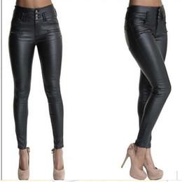 botão de calças de cintura alta Desconto Calças apertadas de mulheres cintura alta calças de botão de couro tecido cortex botão cor sólida calça lápis 40