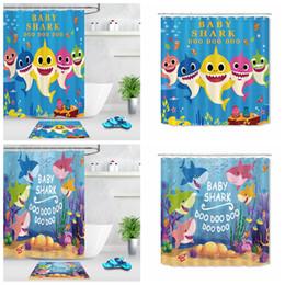 Janela do bebê on-line-2 pçs / set Cortina de tubarão Do Bebê tapete de chão dos desenhos animados impresso quarto porta Blackout sala de banho Tratamento de Janela crianças decoração do quarto cobertor FFA2267