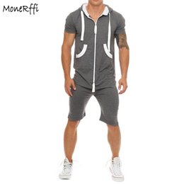3874ebacb1b hoodie overalls Coupons - MoneRffi Men s Zipped Hooded Jumpsuit Short Sleeve  Hoodies Casual Rompers Shorts For