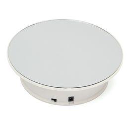 "caja de metal android tv Rebajas 8 ""espejo giratorio de la joyería soporte giratorio mesa giratoria alimentado por batería / CA 220v"