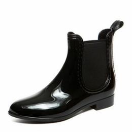 Gummistiefel für Frauen PVC Ankle Regen Stiefel Wasserdichte Trendy Jelly Boot Gummiband Rainy Schuhe Frau Rutschfeste Wasser Schuhe von Fabrikanten