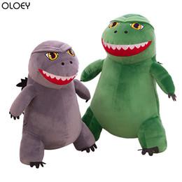 2019 cojines de lentejuelas de plata almohadas OLOEY 2019 de la nueva historieta de la felpa del dinosaurio Godzilla muñeca Q versión del pequeño monstruo algodón de la muñeca de la almohadilla de la historieta de los niños PP