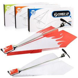 Kits de avião modelo elétrico on-line-Durável power up avião de papel elétrica avião kit de conversão de moda diy modelo de avião de papel elétrica crianças brinquedos c5897